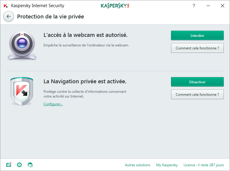 Kaspersky Internet Security Privacy Protection